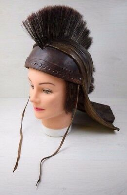 Vintage Genuine Thick Leather Roman Warrior Handmade CENTURION Helmet Costume