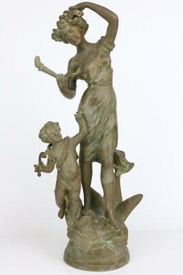 ANTIQUE FRENCH STATUE from a mantel clock BRONZED SPELTER very beautiful subject