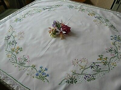 Vintage Hand Embroidered  Tablecloth - Beautiful Delicate Flower Gardens