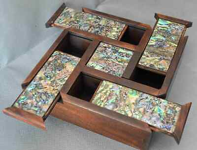 Chinese Art Collectable Handwork Ancient Old Boxwood Inlay Shell Jewelry Box