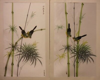 "AS016 PAIR bamboo and birds by Ng Chok Lung painting on art. silk 16½""x9½"""