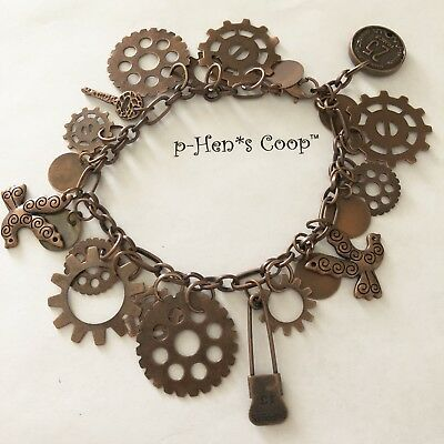 Steampunk Charm Bracelet Copper Doves USA Handmade OOAK 239