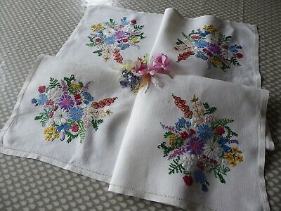 Vintage Hand Embroidered Tablecloth=Assorted Delicate Floral Bouquets -