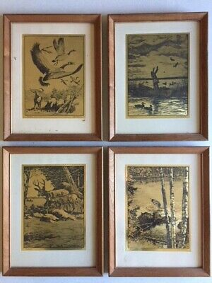Art Prints R.h Reinhold Palenske Hunting Lithograph-engraving Deer Buck Guarding His Family