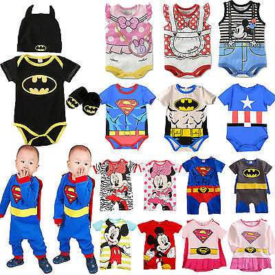 Newborn Baby Superman Romper Batman Mickey Jumpsuit Sleepsuit Homewear Outfits