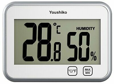 Digital Thermometer Hygrometer / Humidity Temperature Monitor Meter (White & Si