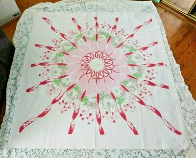 VINTAGE 1950's PINK GREEN COLORFUL RIBBONS & FLOWERS COTTON TABLECLOTH 49 BY 50