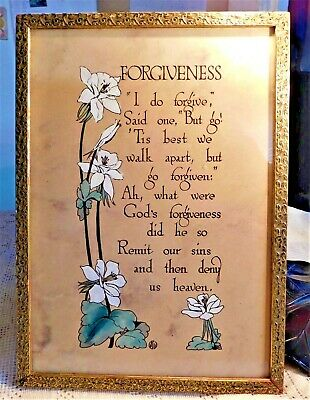 "VINTAGE EARLY 20th CENTURY FRAMED LITHOGRAPH ""FORGIVENESS"" - HAND PAINTED FLORAL"