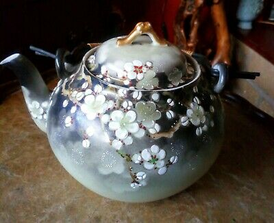Beautiful Genuine Vintage Chinese Teapot With Bamboo Handle. Stamped.
