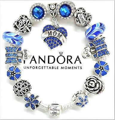 Authentic Pandora Silver Bracelet FAMILY LOVE MOM HEART CRYSTAL European Charms.