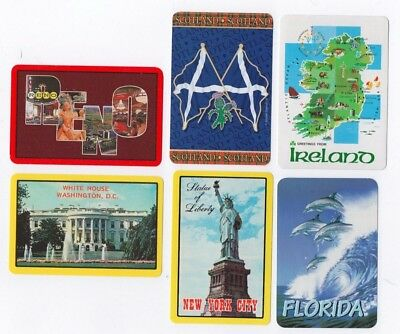 6 Vintage Playing Cards ~Scotland/Ireland/FL/US Cities ~Ace of Spades ~4 Jokers