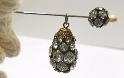 Vintage Rhinestone Sparkly Egg Pendant Charm with Matching Pearl Pin Excellent