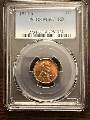 1944-S PCGS MS67+RD Red Lincoln Penny Cent; Top Pop $1850 Retail