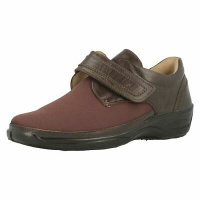 Equity Shoes Blossom Casual Brown Leather Lycra Comfort Wide Fitting E UK 4 EU37
