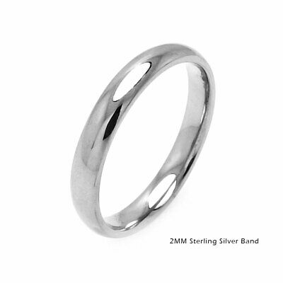 Sterling Silver Plain Wedding Band Comfort Ring Solid 925