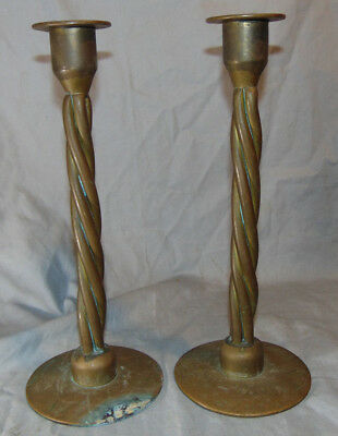 """Antique Pair Twisted Hand Wrought Forged Heavy Brass Candlesticks 11-5/8"""" Tall"""