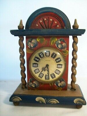Vintage Mercedes Wood Mantel Clock Hand Painted Ornate Design Made in Germany