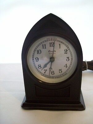 Vintage Lincoln Electric Mantel Clock w/ Cathedral Style Bakelite Case 1930s USA