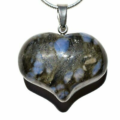 """Selenite Charged Natural Puffy Heart Crystal Pendant + 20"""" Silver-plated Chain"""