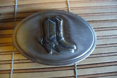 VINTAGE Western Themed COWBOY BOOTS Oval Belt  Buckle  Cowboy