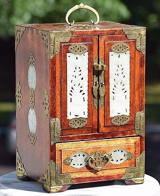 """Large 12"""" Antique Chinese Wood Jewelry Box Hand Carved White Jade Accents"""