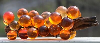 LARGE 1960s MID CENTURY AMBER ACRYLIC LUCITE SPHERE BALL GRAPE CLUSTER DRIFTWOOD
