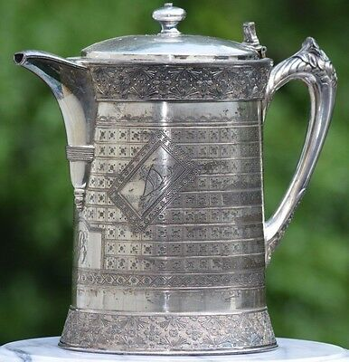 1900's LARGE ANTIQUE LIDDED SILVERPLATE WATER PITCHER SAILBOATS SHIP NAUTICAL