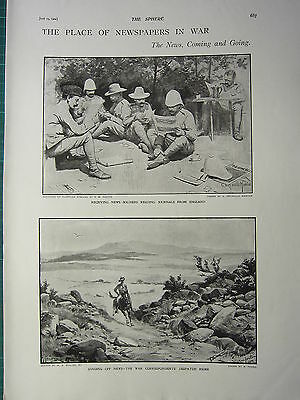 1900 Victorian Boer War Print ~ Receiving News Soliders Reading Newspapers