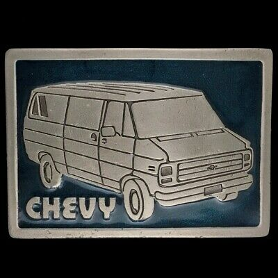 Vtg 70s Nos Chevy Van Shaggin Wagon Minivan Work Truck Band Hippie Belt Buckle