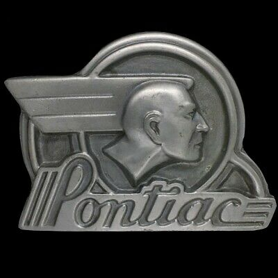 Vtg Nos Pontiac Chief Sixes Indian Logo Car Emblem General Motor Gm Belt Buckle