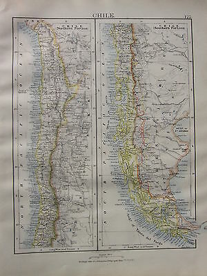 1900 Victorian Map ~ Chile Northern & Southern Portions Antofagasta Tacna