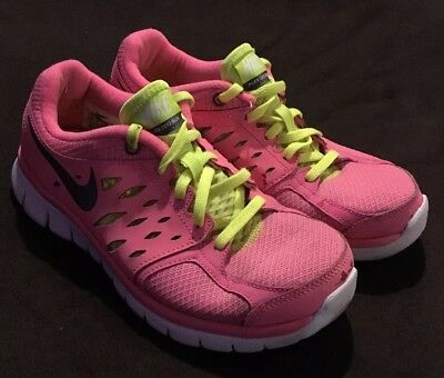 34921ee20a569 NIKE Flex 2013 Run Girls Pink Yellow Athletic Shoes 579971-602 Size 5.5Y