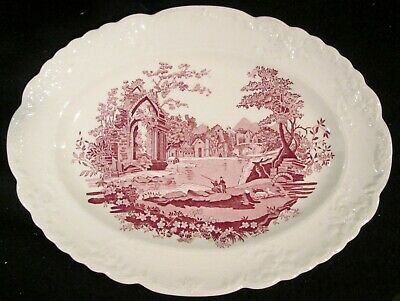 """Taylor Smith Taylor English Abbey Red 11 1/2"""" Oval Platter Fairway Scalloped EUC"""
