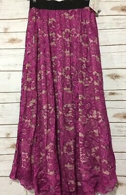 c7002bffc NWT LuLaRoe S Small LUCY Skirt Floral Solid Magenta Purple Lace Cream Lining