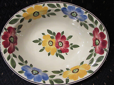 Floral Ges Gesch Decor 148 Handpainted Oval Plate 9.25 inch Vintage Flowers