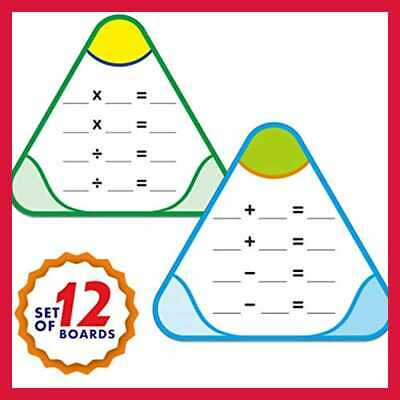 12 PCS Math Education Triangle Boards Flash Cards Easy Wipe & Reusable Perfect F