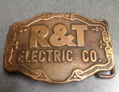 Vintage R&T Electric Brass Belt Buckle Made In Usa