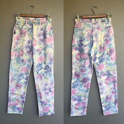 Vintage 80s High Waisted Waist Pastel Floral Mom Jeans By Jag Made In Australia