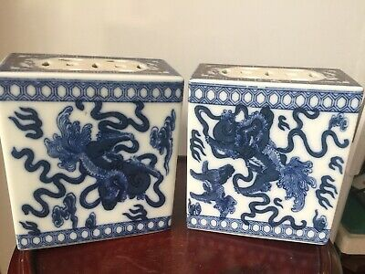 A Pair of Chinese Export Opium Pillows Foo Dogs/Lions Blue & White Porcelain