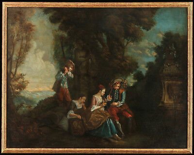 Jean-Baptiste Pater Original Antique French Making Music 18th c. Oil on Canvas