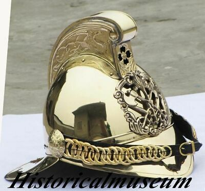 Fireman Helmet Chief Polish Finish Brass Fire Fighter Vintage New Reproduction