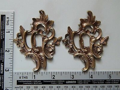 Lot of 2 Antique Large French Bronze Key Hole Ornate Cover,Escutcheon,Furniture