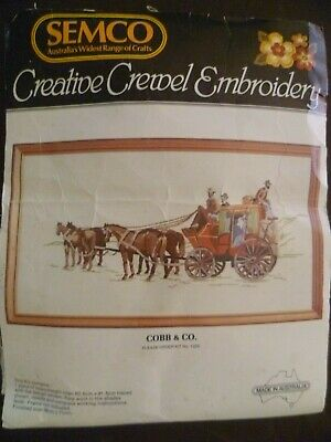 Vintage Embroidery Kit Cobb & Co Coach Australian Semco #1223 Craft To Complete