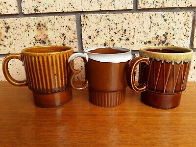 3 x Vintage Retro Stackable Ceramic Tea Coffee Mugs Japan 1960's