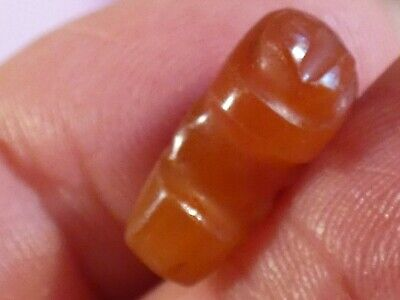 Ancient Pre-Columbian Tairona Red Agate Grub Gusano Rare Bead 15.5 By 10.8 Mm