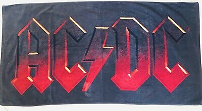Acdc Bath Towel Beach Towel AC / DC Spell Out Black Red Rock N Roll Heavy Metal