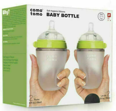 NEW Comotomo Baby Bottles 2 Pack 250ml 8oz Green Soft Silicone Boys