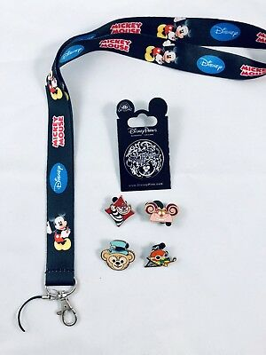 disney lanyard starter pin set/lot cheshire cat, alice in wonderland
