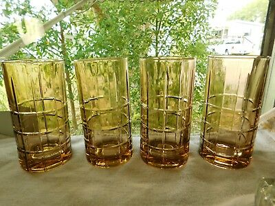 "4 Vtg Large Anchor Hocking Honey Amber Glass Tumbers 6 1/8""Tall"