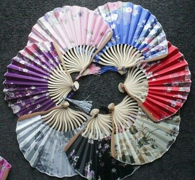 Rose Flower Floral Printed Hand Held Folding Fan Asian Chinese Japanese Voile